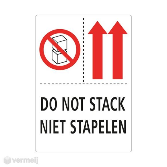 Shipping en attention labels - 1 Sticker Do not stack Niet stapelen