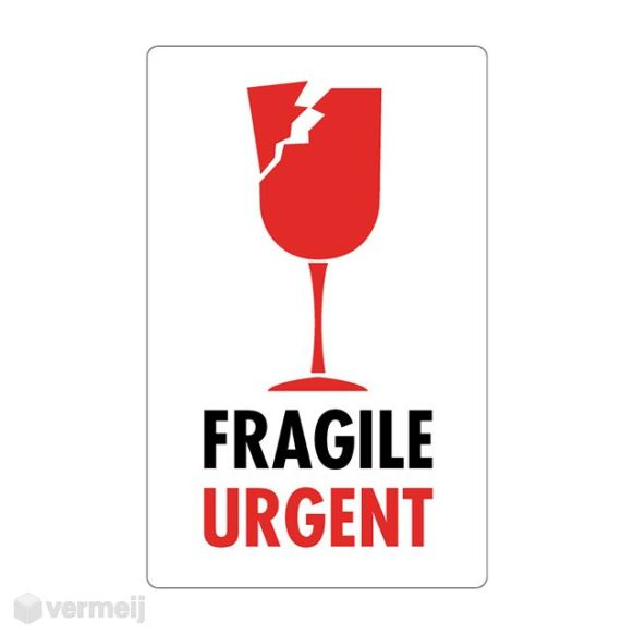 1 Sticker Fragile Urgent