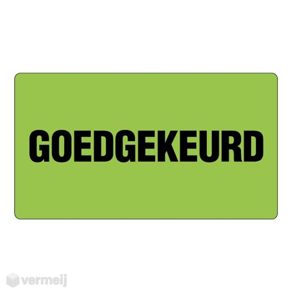"Shipping en attention labels - ""GOEDGEKEURD"" groen fluor/zwart 90 x 50 mm"
