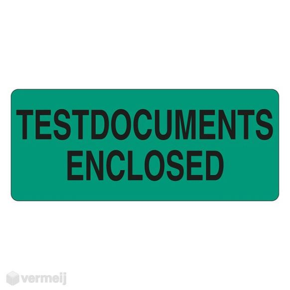 """TESTDOCUMENTS ENCLOSED"" groen/zwart 60 x 25 mm"