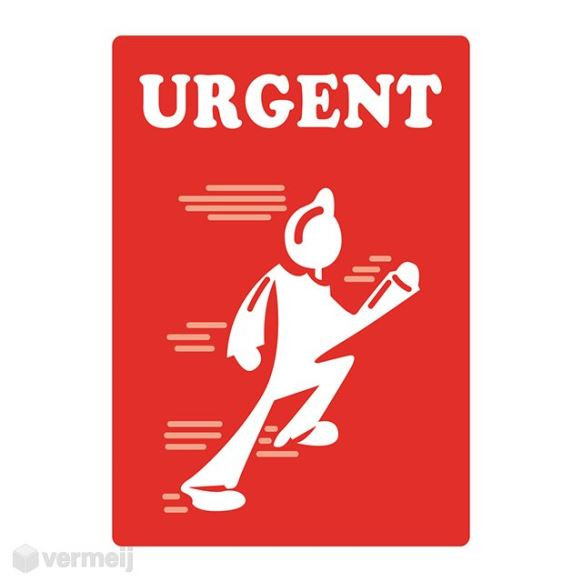 1 Sticker Urgent rood