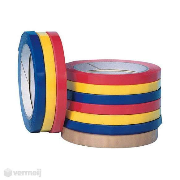 Zakkensluittape - Tape 12 mm. x 66 mtr. PVC Wit