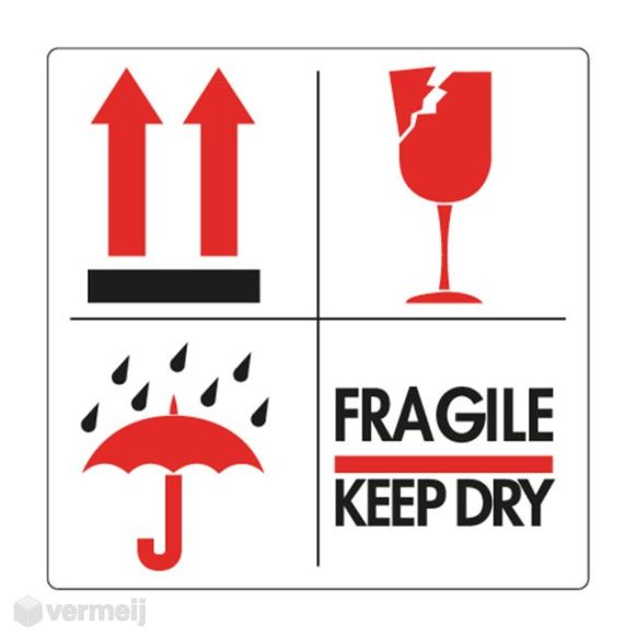 Beeldmerkstickers - Sticker pijl_glas_paraplu_Fragile keep dry