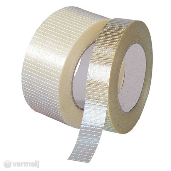 Versterkt tape - Versterkte tape 25 mm. x 50 mtr. nr. 750 (Crossweaved)