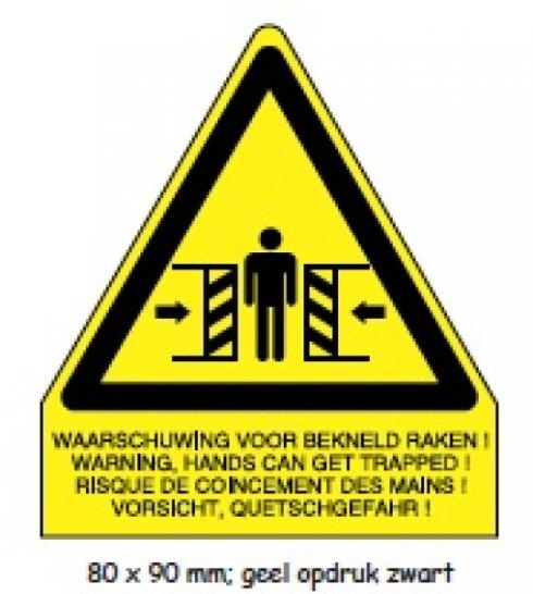 "Shipping en attention labels - ""WAARSCHUWING"" geel/zwart 80 x 90 mm"